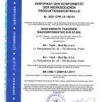 Zertifikat der konformität der werkseigenen produktionskontrolle